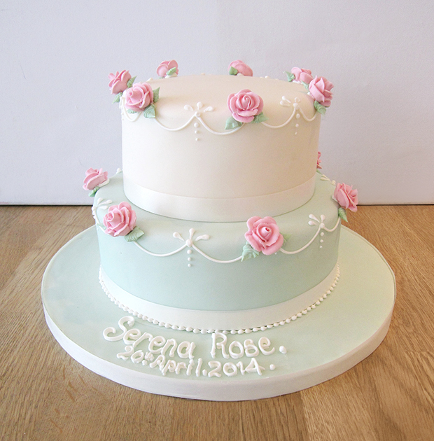 2 Tier Cake with Pink Rose Decoration