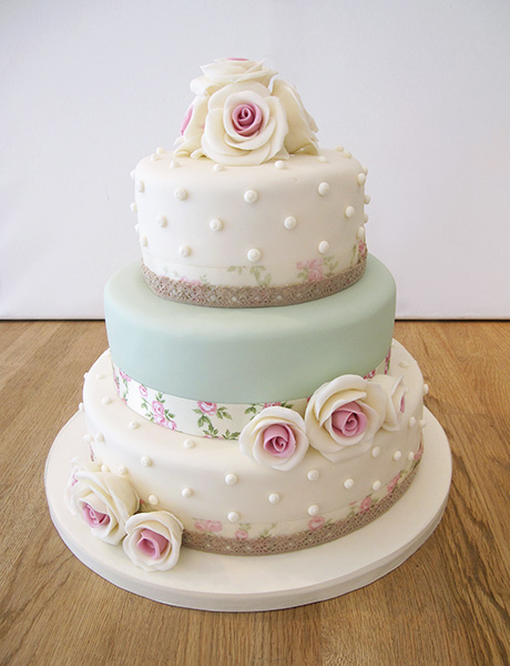 3 Tier Floral and Polka Dot Vintage Style Cake