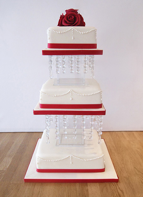 3 Tier Square Wedding Cake on Chandelier Stand