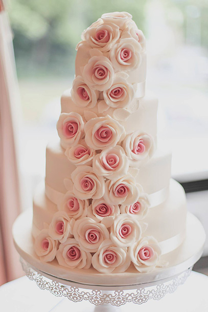4 Tier Wedding Cake with Pale Pink Roses