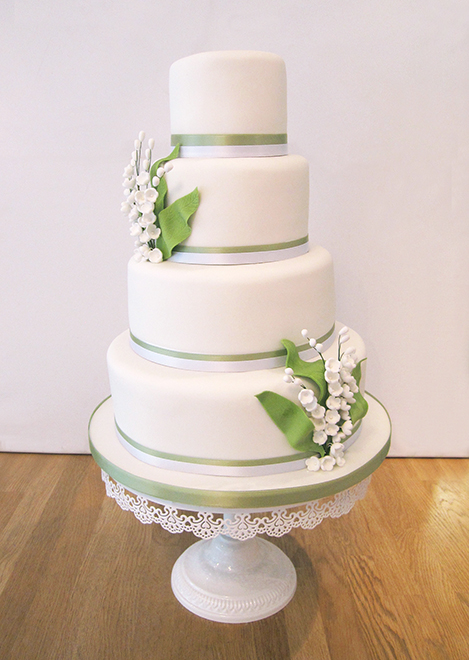 4 Tier Wedding With Lillies of the Valley