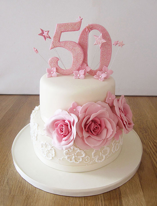 50th Pink Birthday Cake