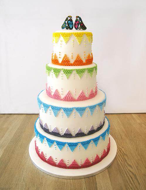 ulti-Coloured Zig-Zag Wedding Cake