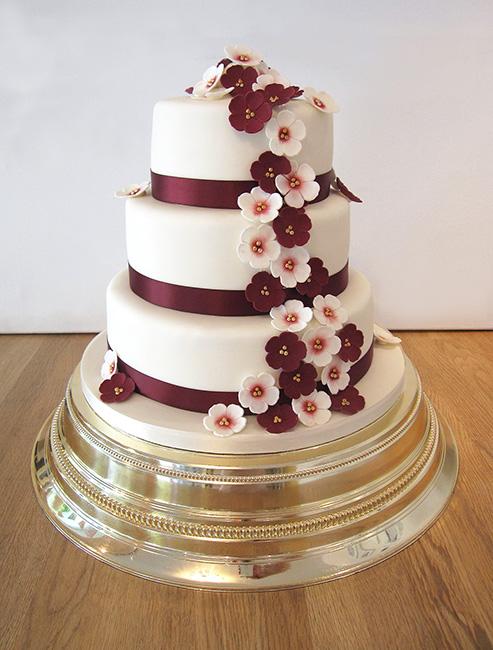 Wedding Cake with Burgandy Cascading Flowers