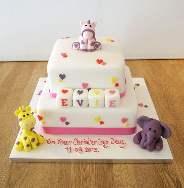 2 Tier Christening Cake with Baby Animals