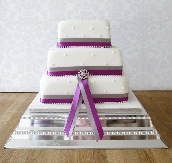 Square Wedding Cake with Ribbon and Diamantes