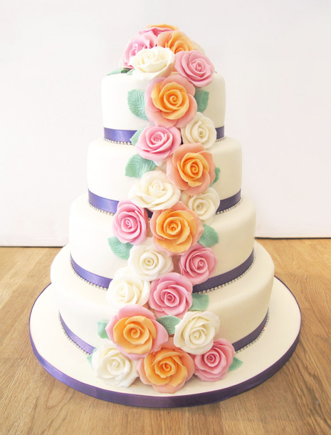 4 Tier Wedding Cake with Colourful Roses