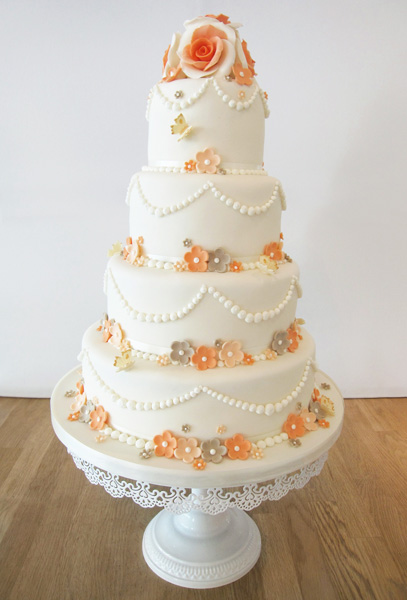 4 Tier with Peach Roses and Flowers