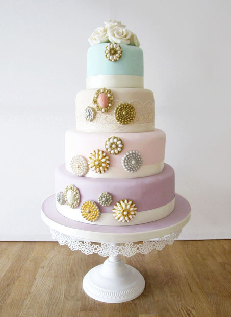 Pastel Wedding Cake with Vintage Brooches