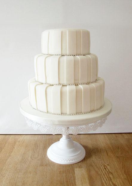 Ivory Striped Wedding Cake with Diamante Detail
