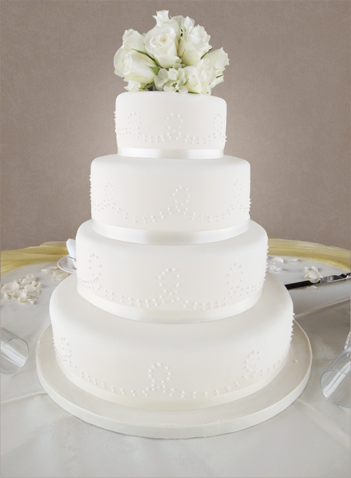 4 Tier Ivory Rose Wedding Cake