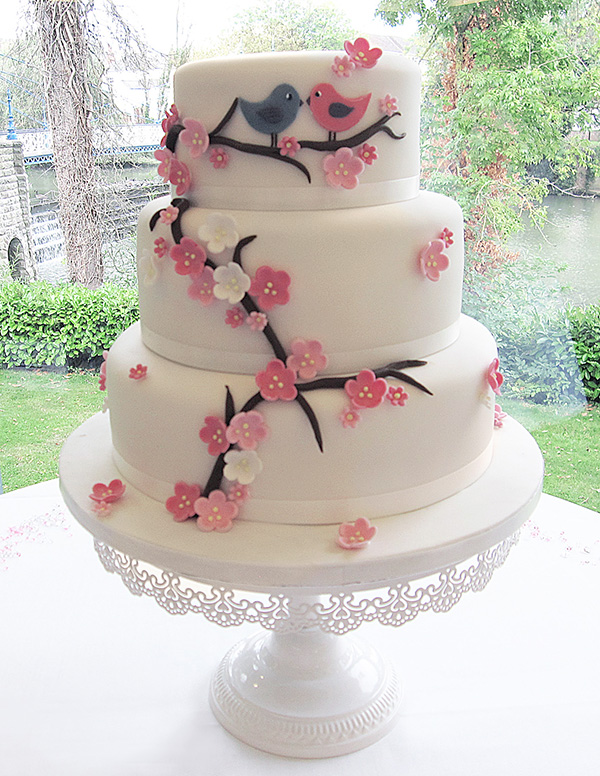 Blossom & Birds Wedding Cake