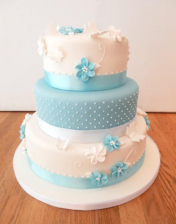 Blue Polka Dot Wedding Cake