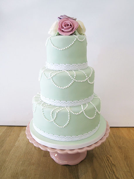 Green Vintage Style Cake with Roses & Lace