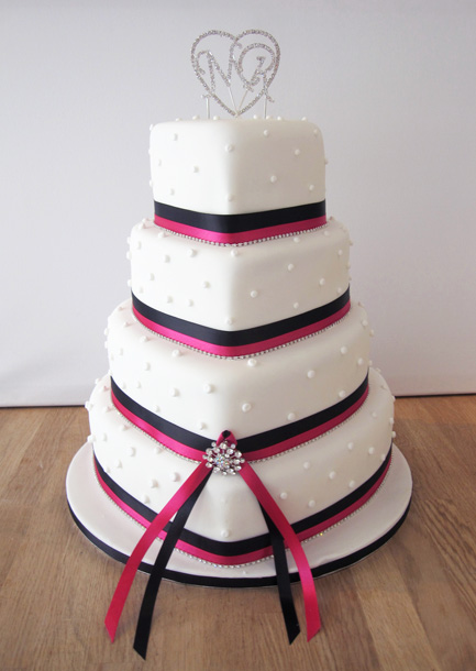 Heart Shaped Wedding Cake with Diamantes and Ribbon