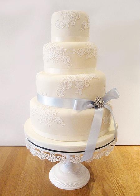 Lace Textured Wedding Cake