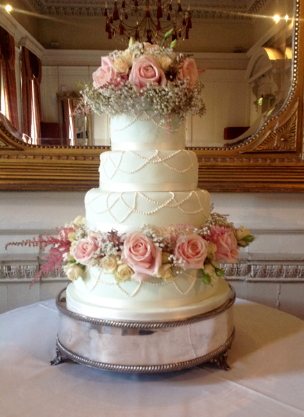 Pistachio Wedding Cake with Rustic Pink Flowers
