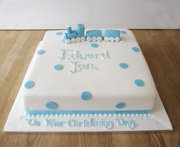 Spotty Christening Cake with Blue Train