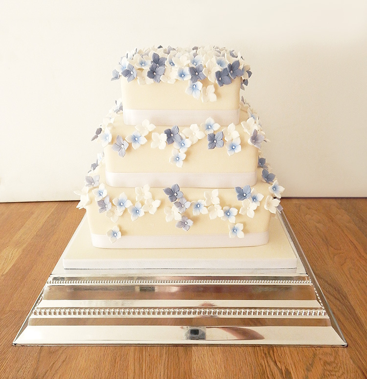 Square Wedding Cake with Blue Flowers