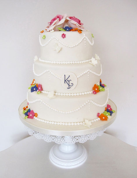 Vintage Style Wedding Cake with Colourful Flowers