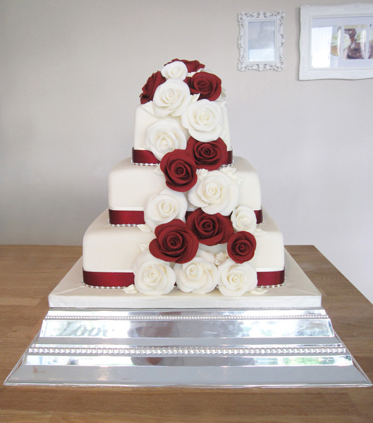 Wedding Cake with Deep Red Roses