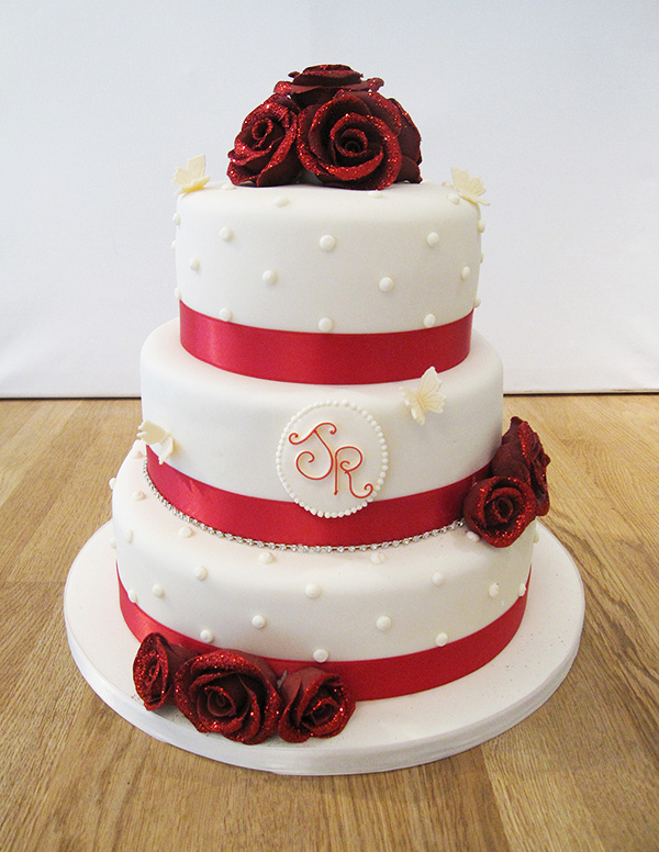 Wedding Cake with Glitter Red Roses