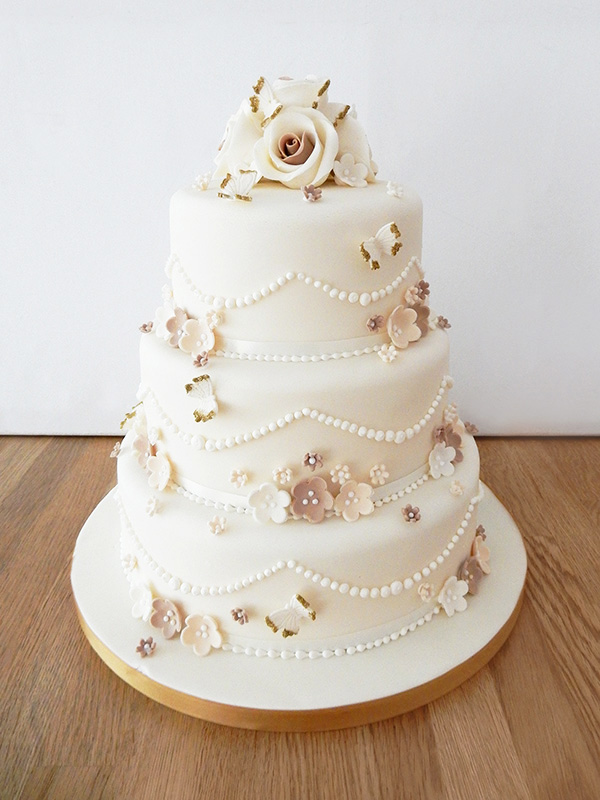 Wedding Cake with Gold Butterflies & Flowers