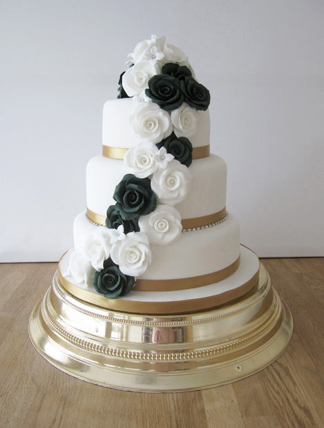 Wedding Cake with Green & Ivory Roses
