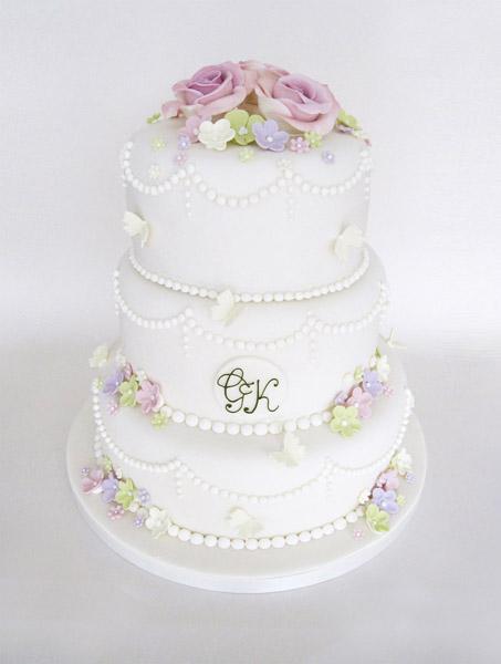 3 Tier Vintage Flowers and Pearls Wedding Cake