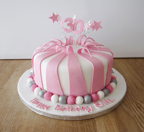 Pink & Silver Striped Cake
