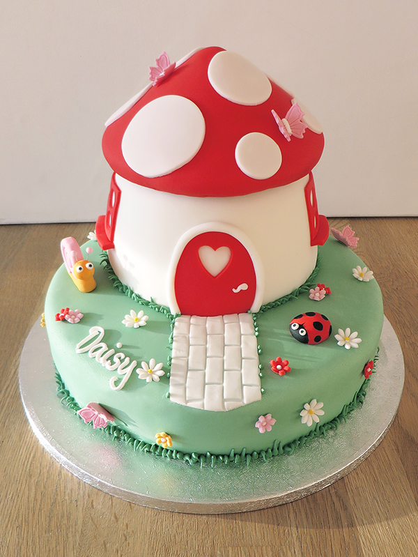 Red Toadstool House Cake
