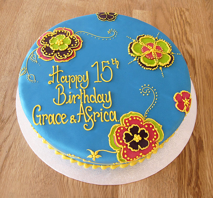 Vibrant Flower Pattern Cake