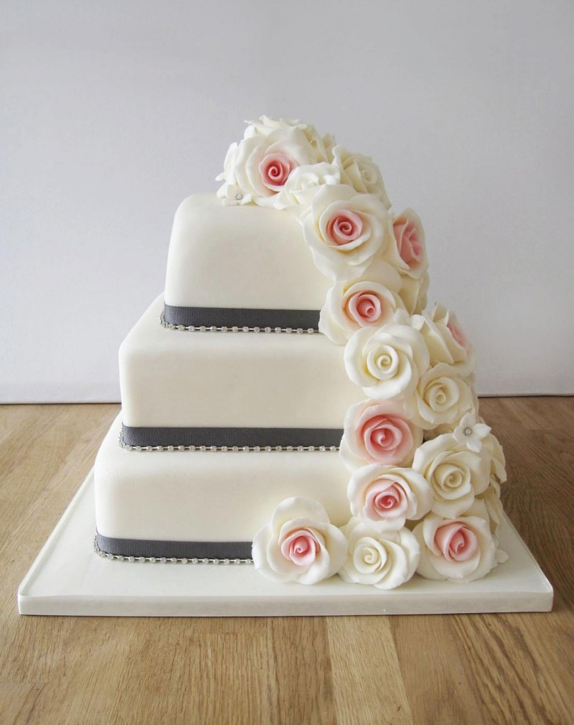 Cake Orange Ribbon Red Roses Square