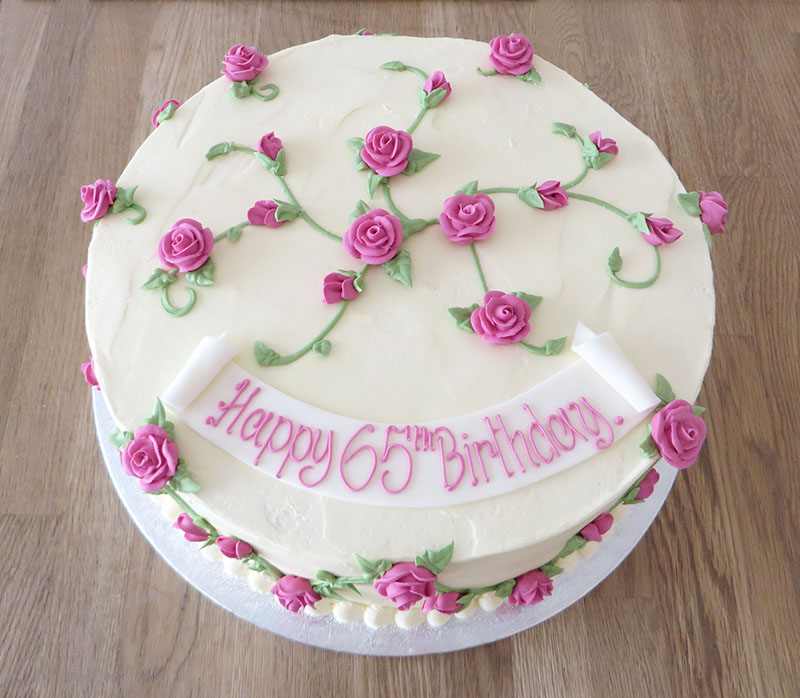 Pink Rose Covered Birthday Cake