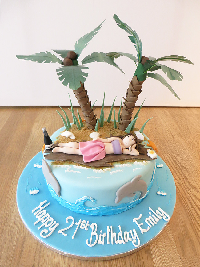 Tropical Beach Birthday Cake