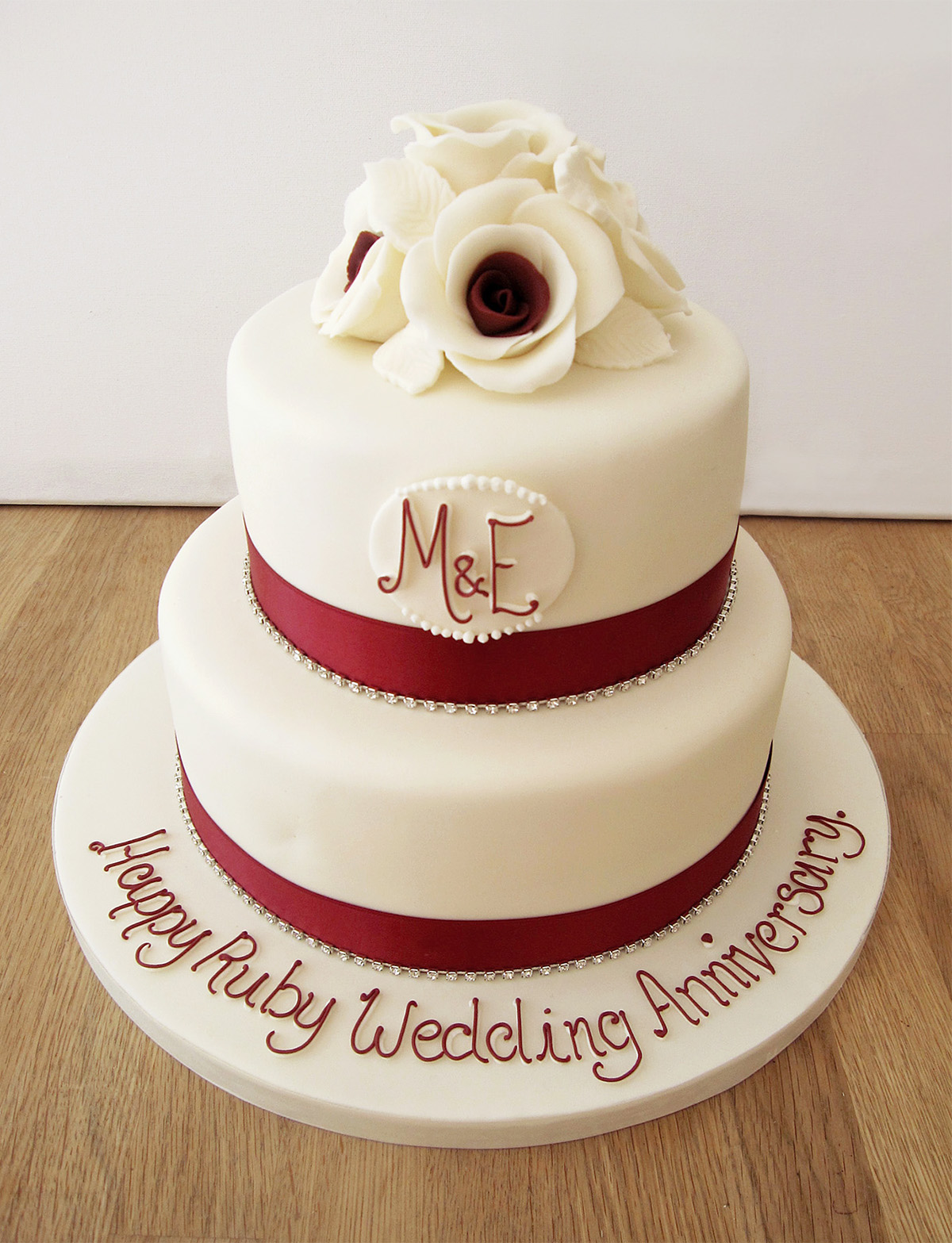 2 Tier Ruby Wedding Anniversary Cake