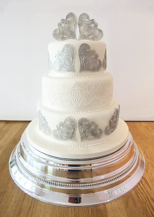 Wedding Cake with Decorative Silver Hearts