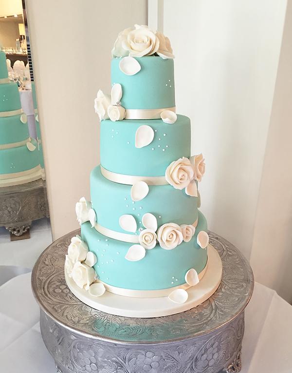 Vintage Blue and Ivory Wedding Cake