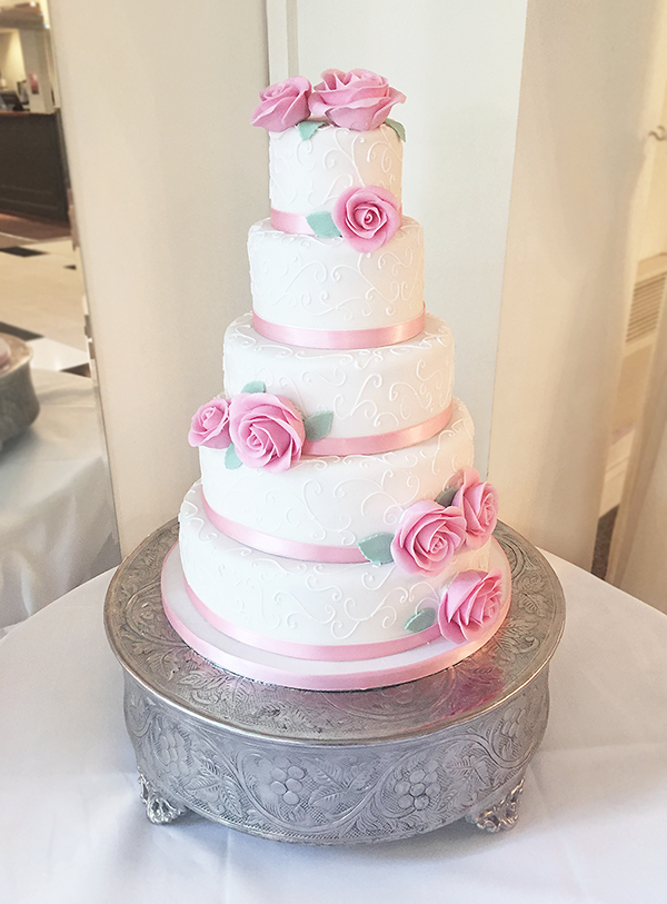 5 Tier Ivory and Pink Wedding Cake