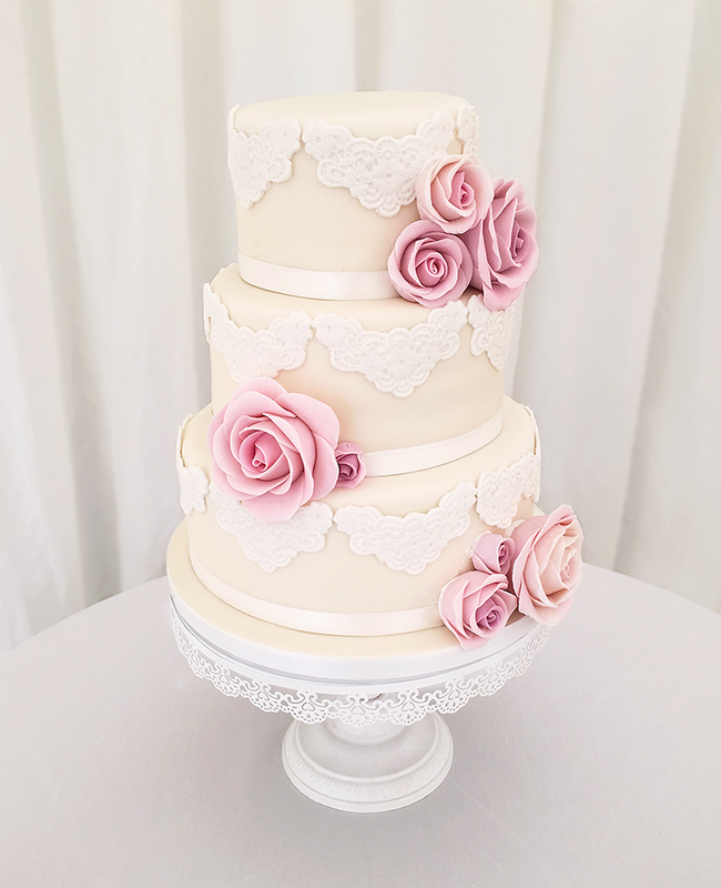 Vintage Lace Cake with Pink Roses