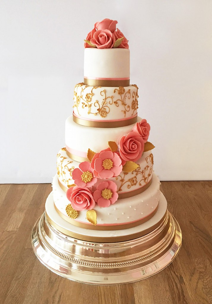 Gold and Peach Floral Wedding Cake