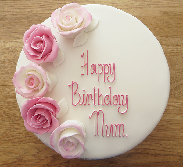 Birthday Cake with Large Pink Roses