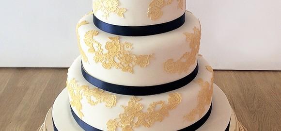 Gold Navy Asian Wedding Cake