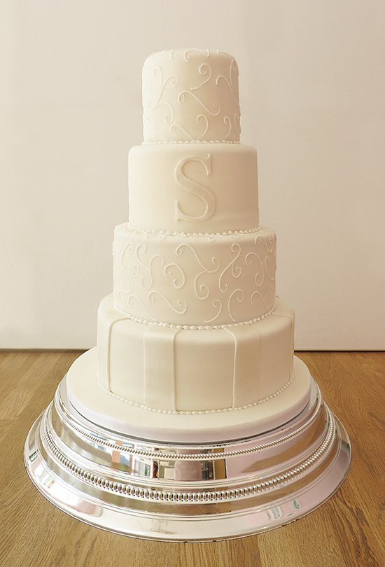 White Wedding Cake with Large Initial