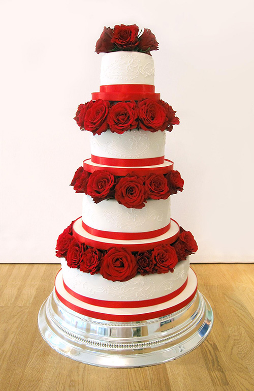 4 tier wedding cake with red roses 4 tiers archives the cakery leamington spa 10424