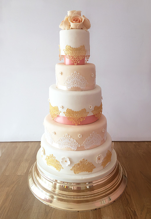 5 Tier Cake in Gold, Champagne and Pink