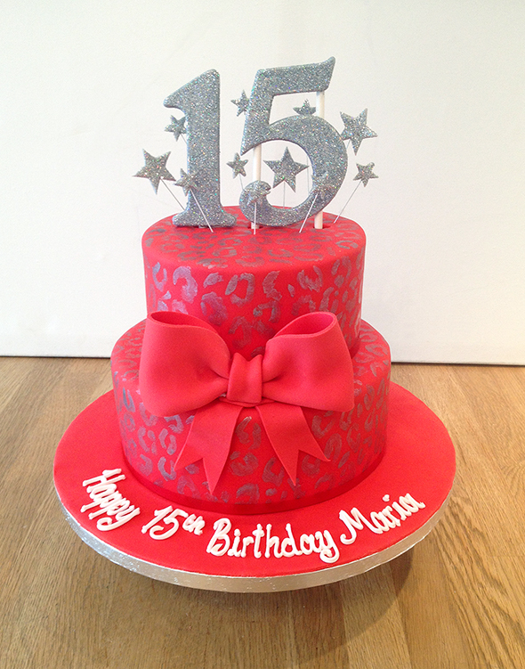 Red and Silver Leopard Print Cake with Bow