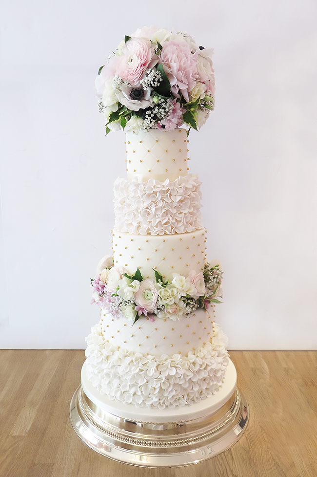 5 tier wedding cake with cascading flowers wedding cakes archives the cakery leamington spa 10476