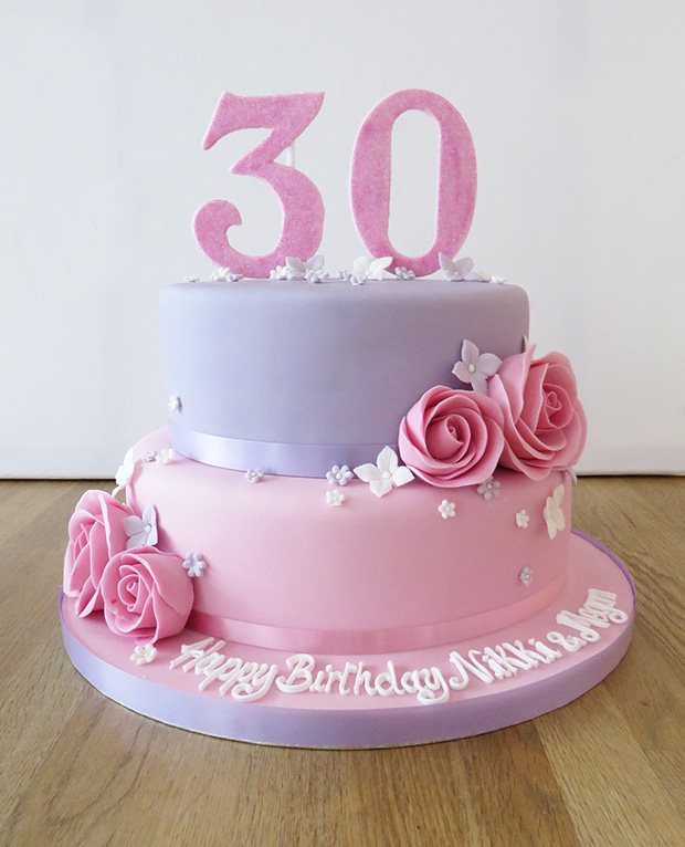 2 Tier 30th Birthday Cake