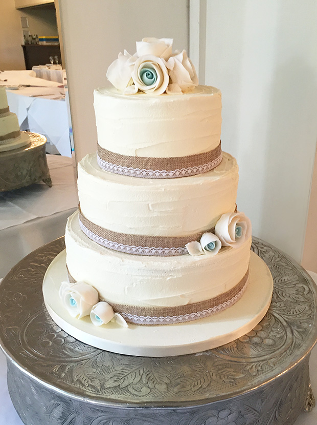 Rustic Wedding Cake With Ivory & Teal Roses